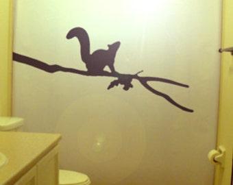 Squirrel Shower Curtain Kids Bathroom Decor bath Oak Tree Branch leaf leaves nuts animal chipmunk acorn
