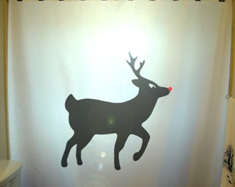 Christmas Shower Curtain Reindeer Rudolph Red Nose Deer Nosed Holiday Ornament Bathroom Decor Kids Bath