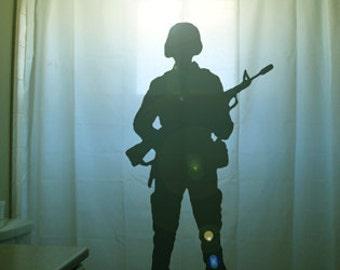 Soldier Shower Curtain Hero Army Bathroom Decor Kids bath Armed Forces Ak47 Gun Rifle Veterans Troops Respect the Fallen