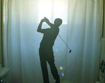 Golf Shower Curtain Golfer Bathroom Decor