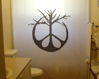 Peace Sign Tree Shower Curtain Bathroom Decor Kids Bath Symbol Branch 70s hippie life unique