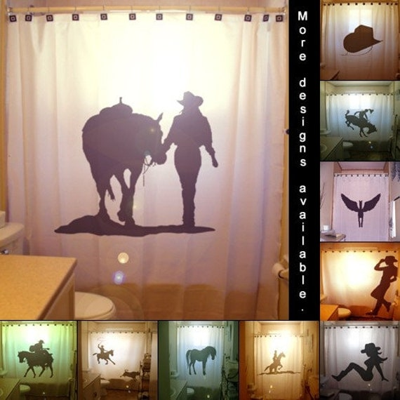 Cowgirl shower curtain western theme hat boots female cowboy
