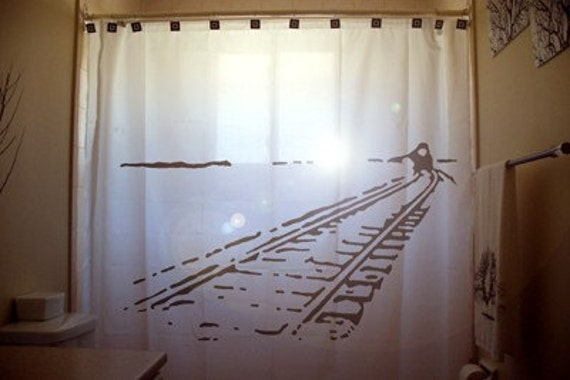 Train Shower Curtain Train Tracks Car Railroad Railway Rail