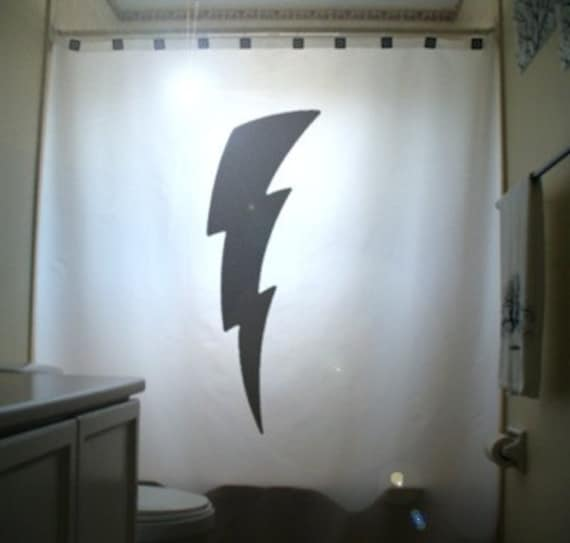 Lightning Bolt Shower Curtain Bathroom Decor Kids Bath Strike