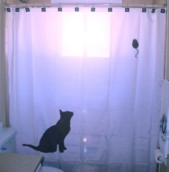 Mouse Cat Shower Curtain Kids Bathroom Bath Decor Unique