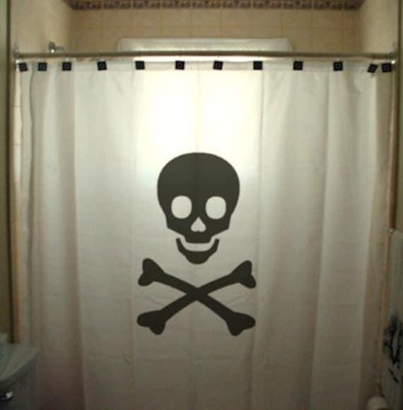 Skull and Crossbones Shower Curtain Jolly Roger Bathroom Kids Bath Decor Pirates Horror Death Sign of Danger