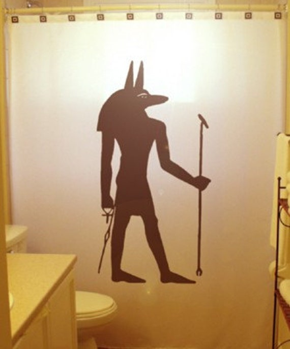Anubis shower curtain egyptian bathroom decor inpu for Egyptian bathroom designs
