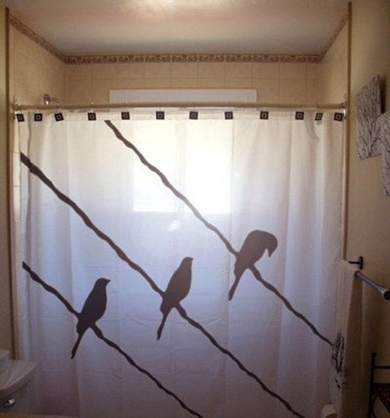 Curtains Ideas bird shower curtain : Wire Birds Shower Curtain Bird on a Wire Raven Crow Blackbird