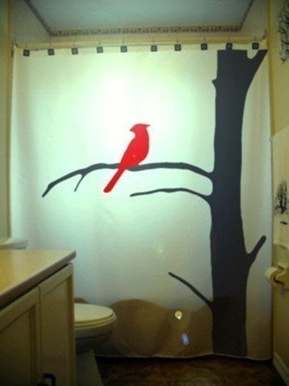 Curtains Ideas bird shower curtain : Cardinal Shower Curtain Bird Tree Bathroom Decor