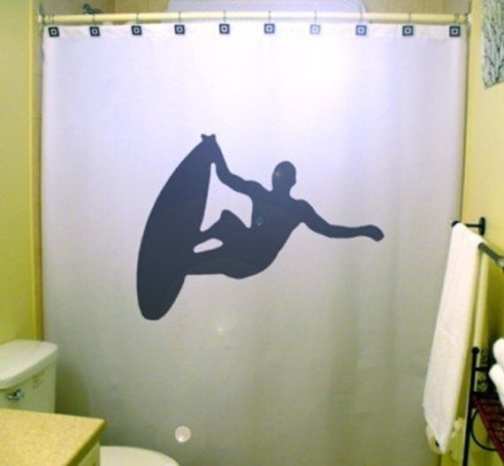 Surfing Surfer Shower Curtain Surf Board Bathroom Decor Kids