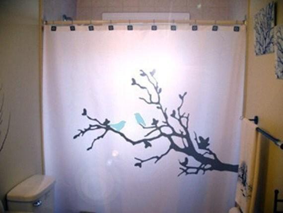Bluebirds shower curtain tree blue birds bathroom kids branch bath
