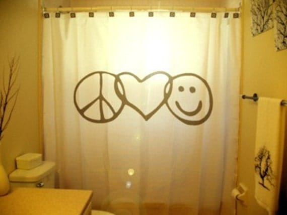 Peace Love Happiness Shower Curtain Peace Sign Love Heart Smiley Face inspirational motivational inspiring kids bathroom bath decor