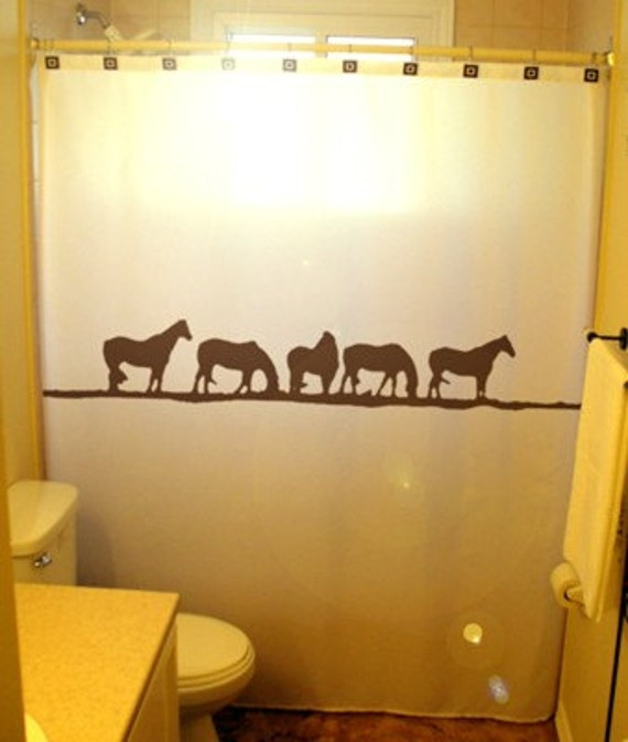 Wild Horses Shower Curtain Western theme by CustomShowerCurtains