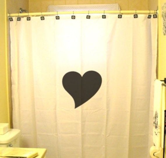 Love Heart Shower Curtain Romance Valentine's Day Romantic bathroom decor kids bath