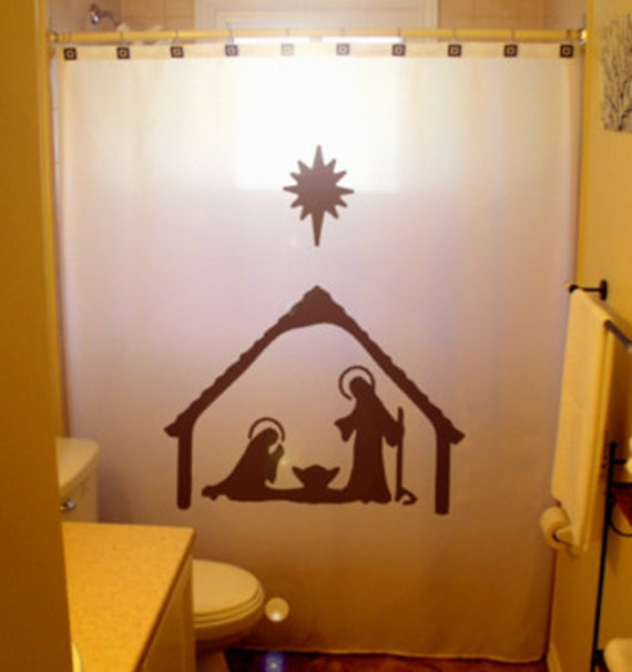 Items Similar To Christmas Shower Curtain Nativity Scene