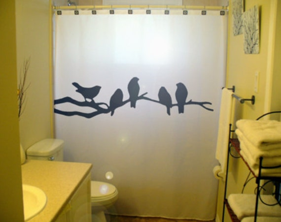 Bird shower curtain bathroom decor black birds tree branch lovebirds