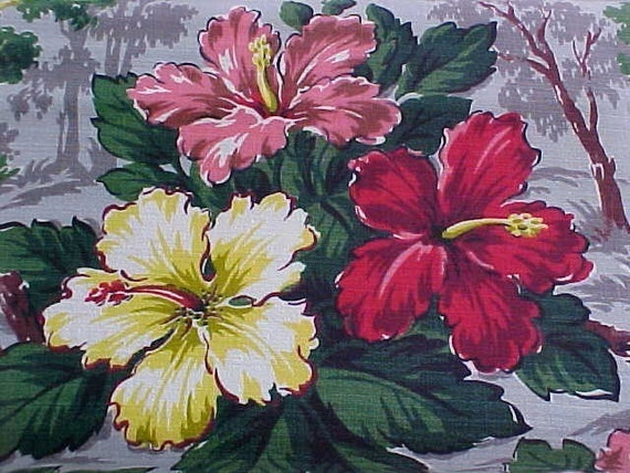 Vintage Barkcloth - 1940s Tropical - Hibiscus - Half Yard - New Vintage - Right off the Bolt