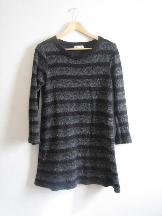 VTG Gray Striped Fuzzy Sweater Dress Small Med