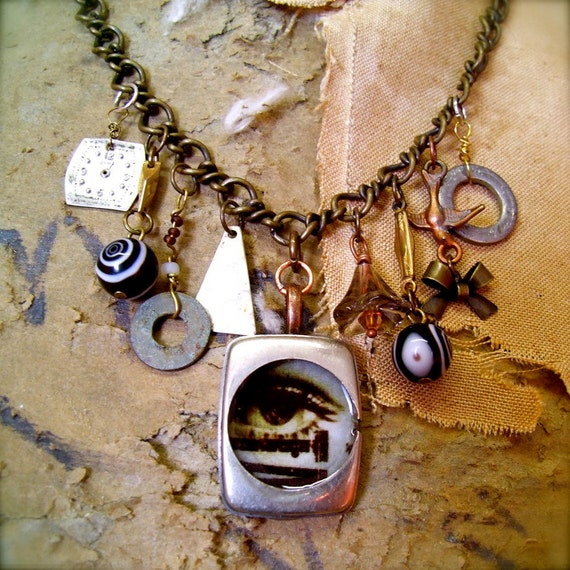 OPTICAL ILLUSIONS Found Object necklace