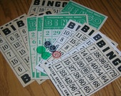 Bingo Cards, Vintage, Great for Collage, Altered Art, Set of 12 & Bonus Chips