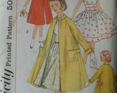 Vintage 1950's Simplicity Girls' One-Piece Dress and Coat Pattern - Size 12