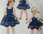 Vintage 1950's Simplicity Child's Sundress or Jumper with Blouse with Detachable Cape Pattern - Size 2