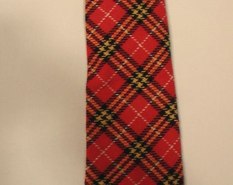 Men 70s punk tartan plaid tie Playboy Mad Men preppy Montgomery Ward polyester designer