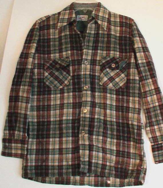 Men's vintage pendleton wool flannel shirt grunge 50s Small 40 Billy Reid Kurt Cobain woodsman