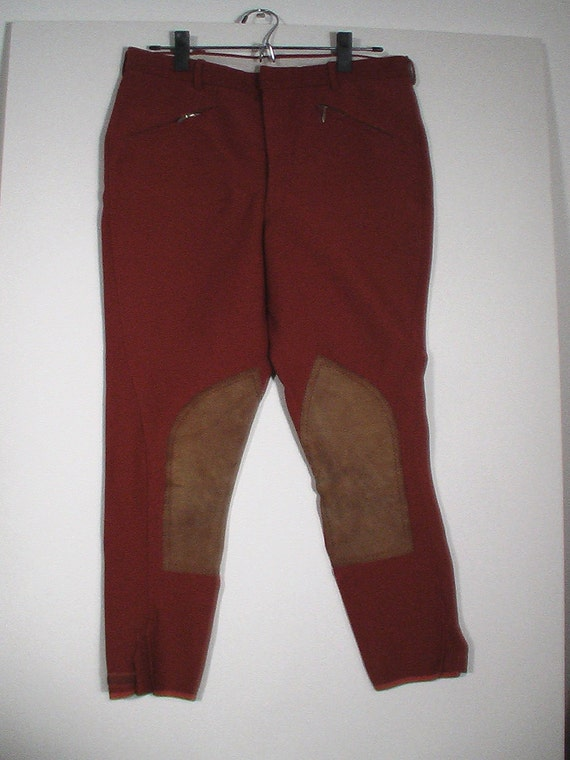 jodphurs equestrian pant punk steampunk orange leather 34r Made in England
