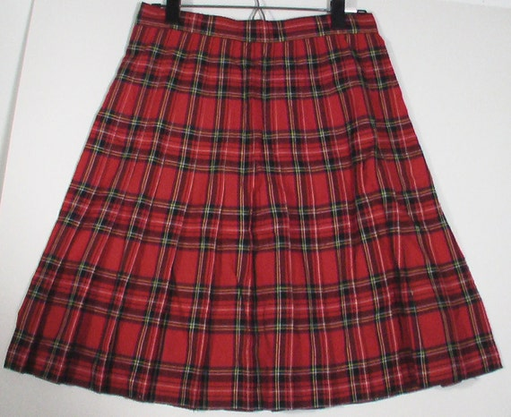 red plaid pleated skirt schoolgirl size 9 10 psychedelic paisley boho bohemian punk