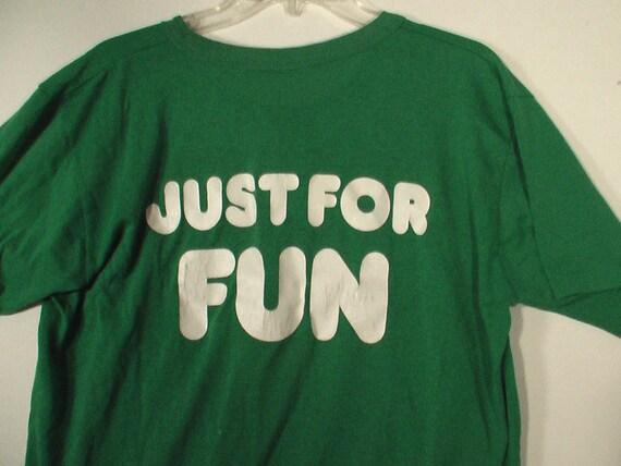 Men's green henley tshirt shirt Just for Fun party grunge punk jock suggestive