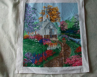 Embroidered country church picture
