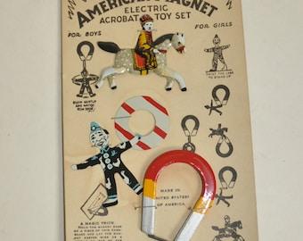 Vintage Tin Magnet Acrobatic Toy Set