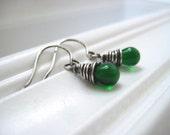 Emerald Green Smooth Briolette Handmade Earrings in Oxidized Sterling Silver