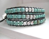 Turquoise and Silver Gemstone and Leather Triple Wrap Bracelet
