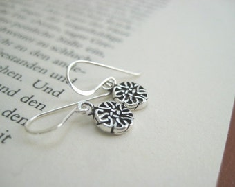 Simply Silver, Very Tiny Filigree Round Drop Sterling Silver Earrings Feminine Jewelry