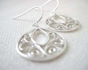 Simply Sterling, Genevieve Earrings, Sterling Silver Filigree Teardrops
