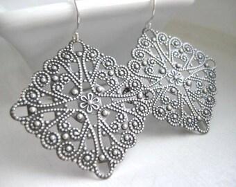 Layla Earrings, Ornate Filigree Earrings with Sterling Silver