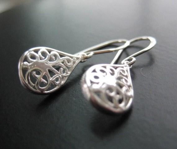 Petite Filigree Earrings - Sterling Silver