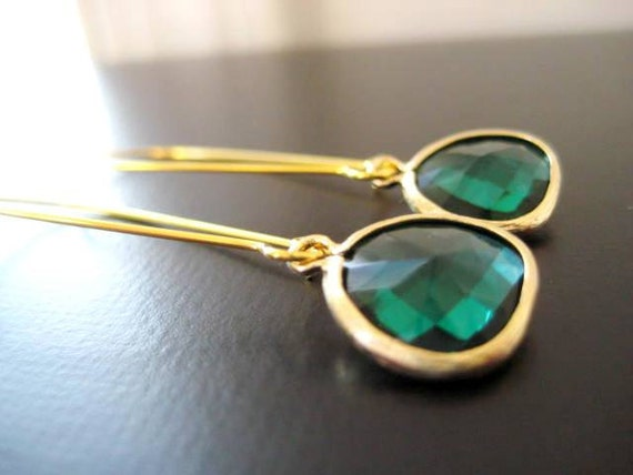 Kyle Earrings in Emerald and Gold
