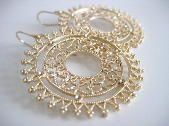 RESERVED for Cristie - Florence Earrings, Ornate Brass Filigree, Gold filled Earwires
