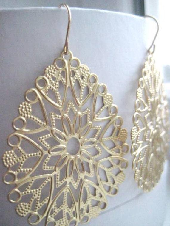 Leona Earrings, Ornate Brass Filigree, Gold filled Earwires