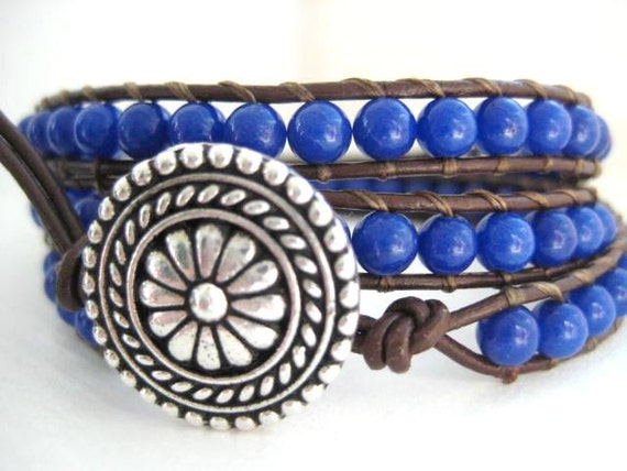 Going Sailing - Deep Blue Gemstone and Leather Triple Wrap Bracelet