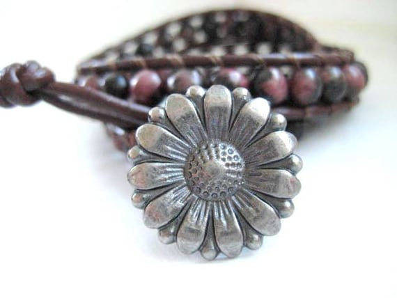 Brown Agate Gemstones and  Leather Double Wrap Bracelet
