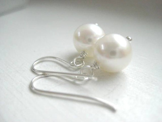 June Birthday Single Pearl Drop Earrings, 8 mm Freshwater Pearl, Sterling Silver