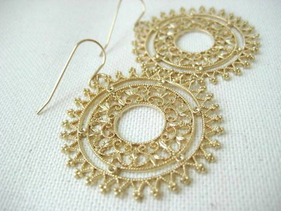 Florence Earrings Large Round Ornate Brass Filigree Gold filled Earwires