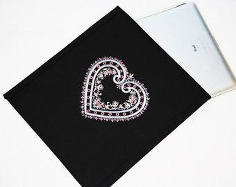 "iPad sleeve, iPad 2 case, iPad 2 Cover ""Lace heart"""