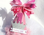 pink sparkly princess party hat with silver crown and polka dots light pink hot pink