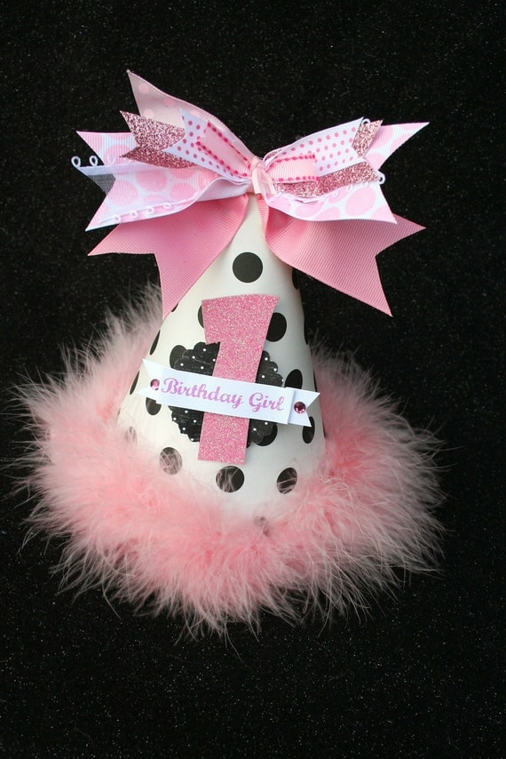 Chic Pink White and Black Polka Dot Birthday Party Hat with Glitter