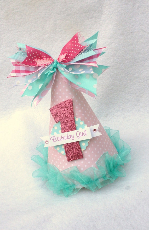 Sweet Pink and Aqua Party Hat with gingham, polka dot accents, shabby chic, vintage inspired